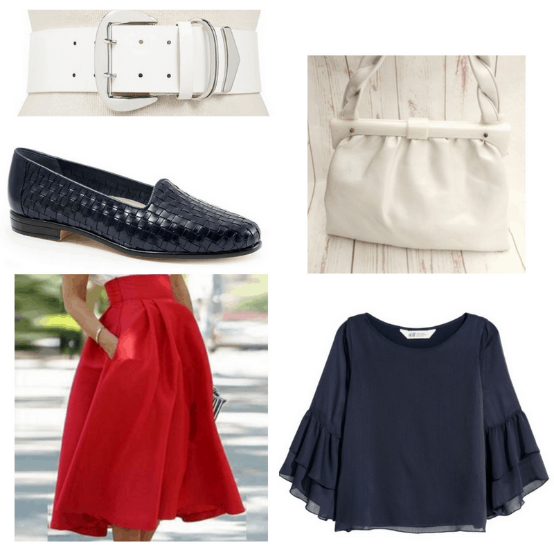 Red skirt, navy blouse and shoes, white belt and handbag.