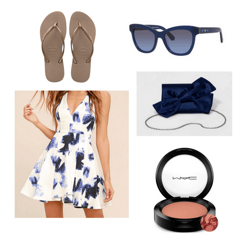 Blue and white dress, blue clutch, rose gold flip flops, sunglasses and blush.