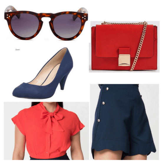 Sunglasses, red bag and blouse, navy shorts and heels.