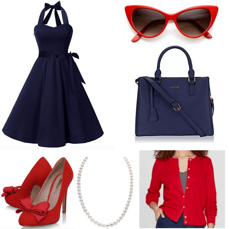 Navy dress and bag, red sunglasses, cardigan and shoes and pearls.