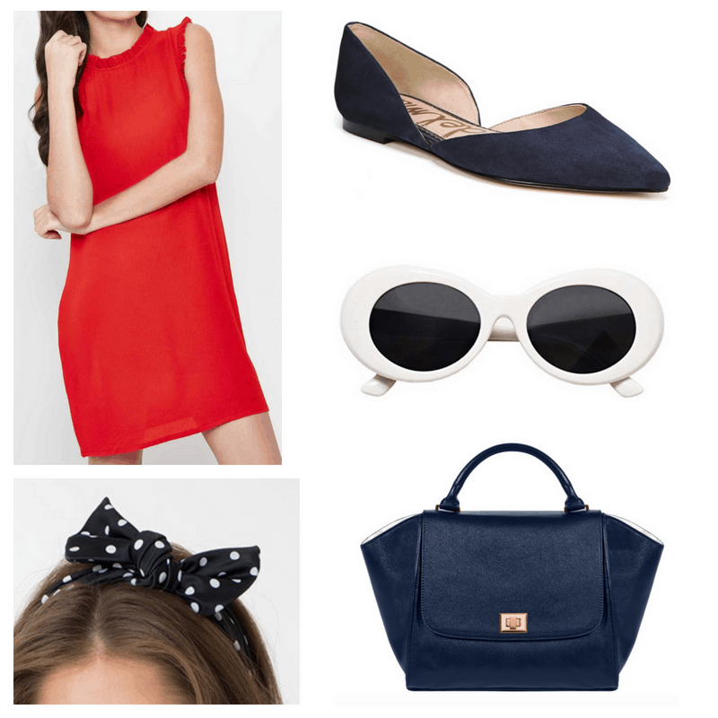 Red dress, white sunglasses, navy shoes, bag and head scarf.