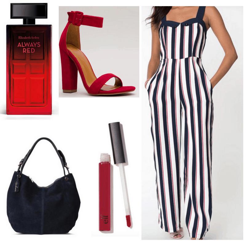 Romper, heels, perfume, lipstick and hobo bag.