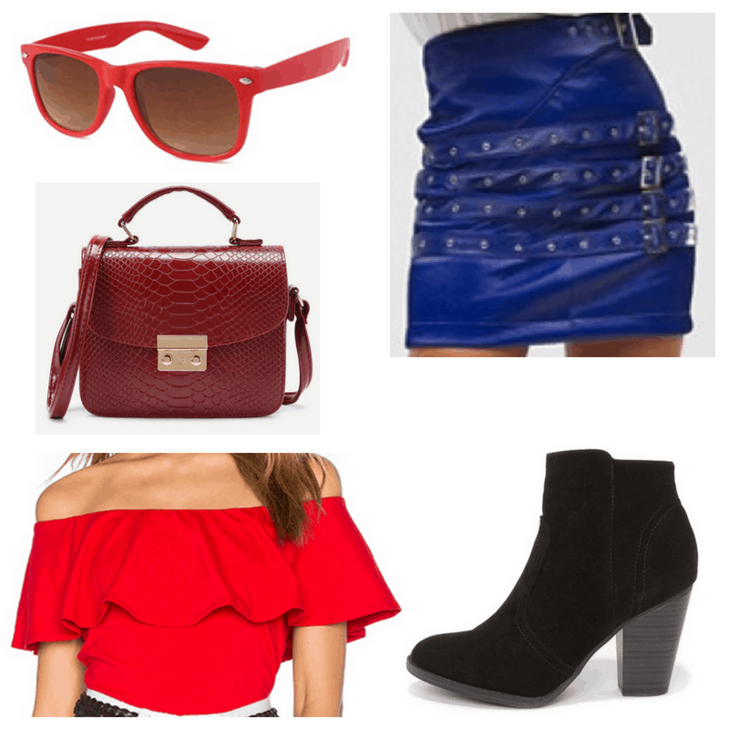 Red top, sunglasses and handbag, blue skirt and black boots.