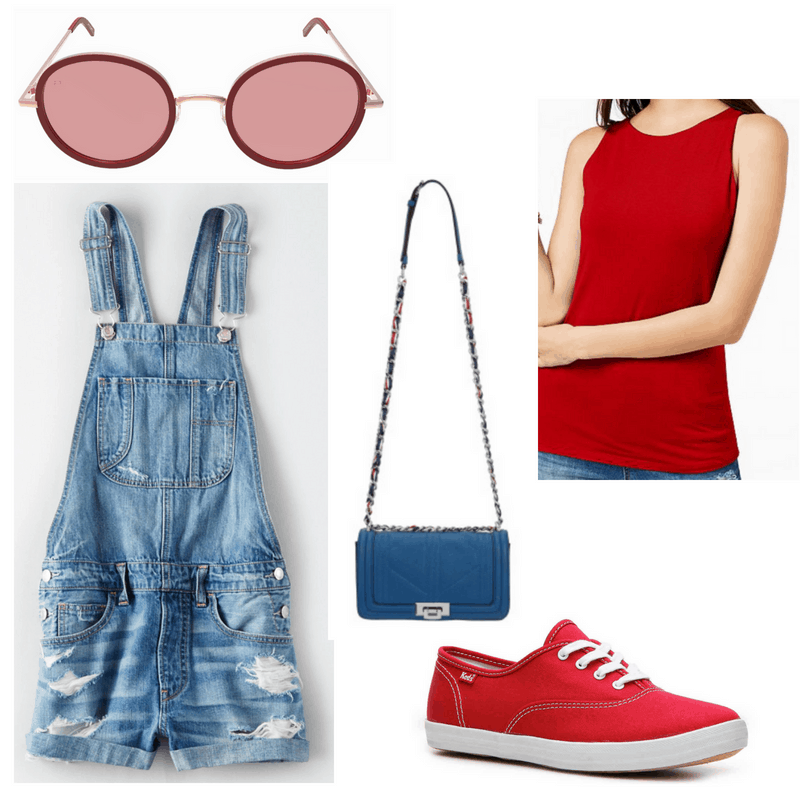 Red top, sneakers and sunglasses, blue bag and overalls.