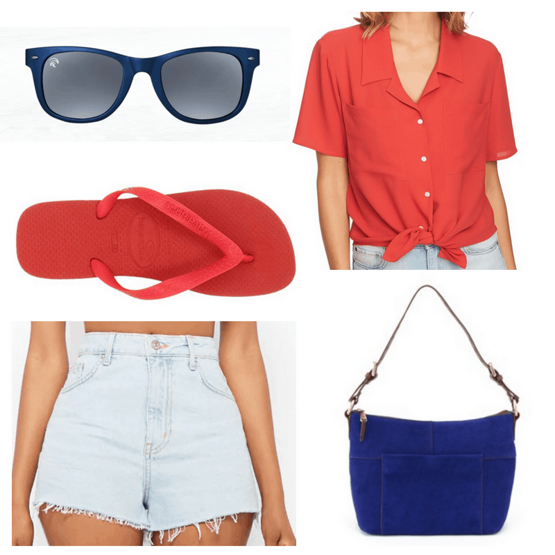 Red top and flip flops, blue bag, shorts and sunglasses.