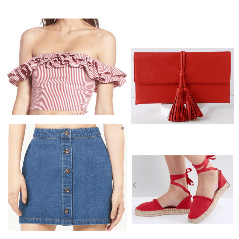 Jean shorts, red top, espadrilles and clutch.