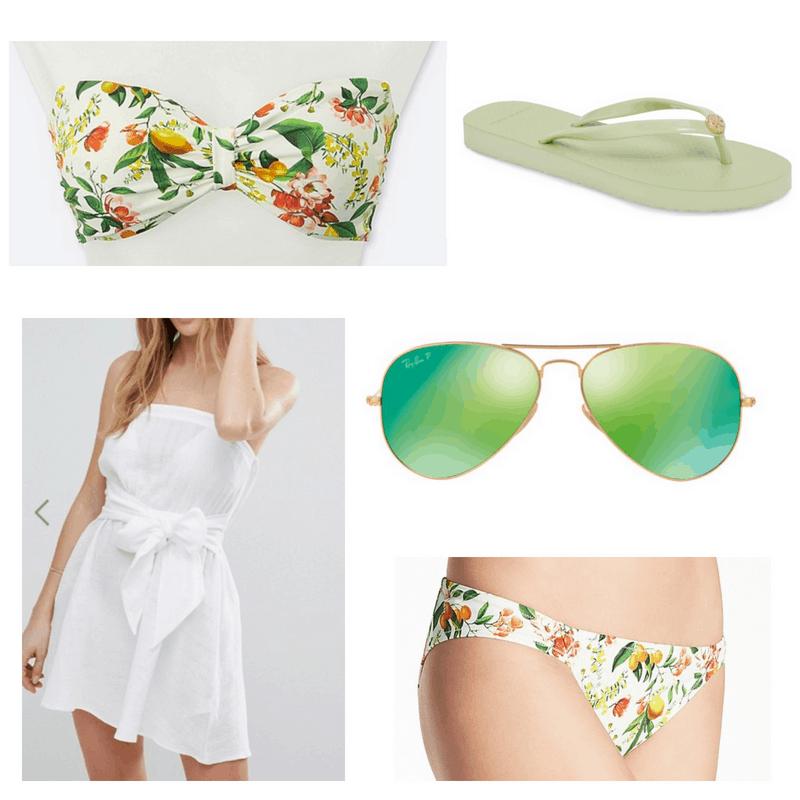 White coverup, green bikini, sunglasses and flip flops.