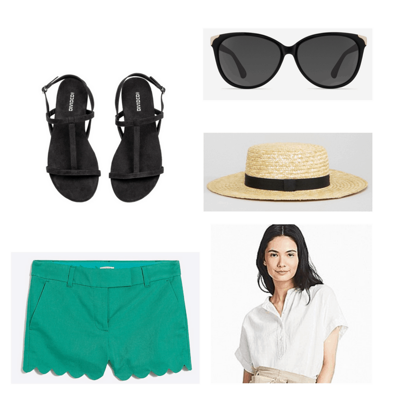 Scalloped shorts, black sandals, white blouse, straw hat and sunglasses.