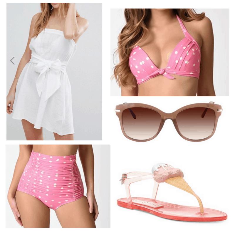 White coverup, pink bikini sunglasses and flip flops.
