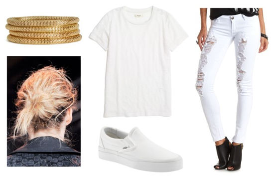 UO lookbook white ripped jeans white tee