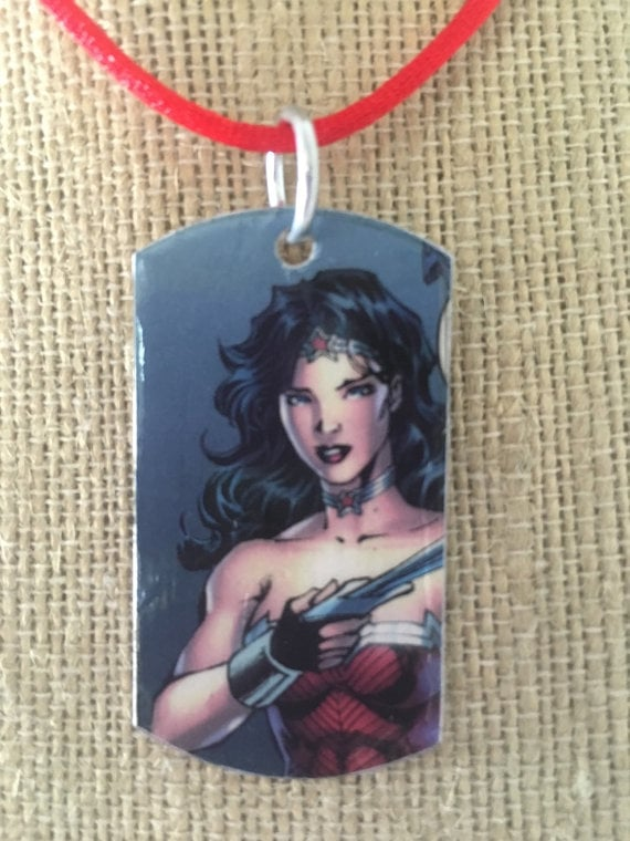 Upcycled Wonder Woman dog tag necklace