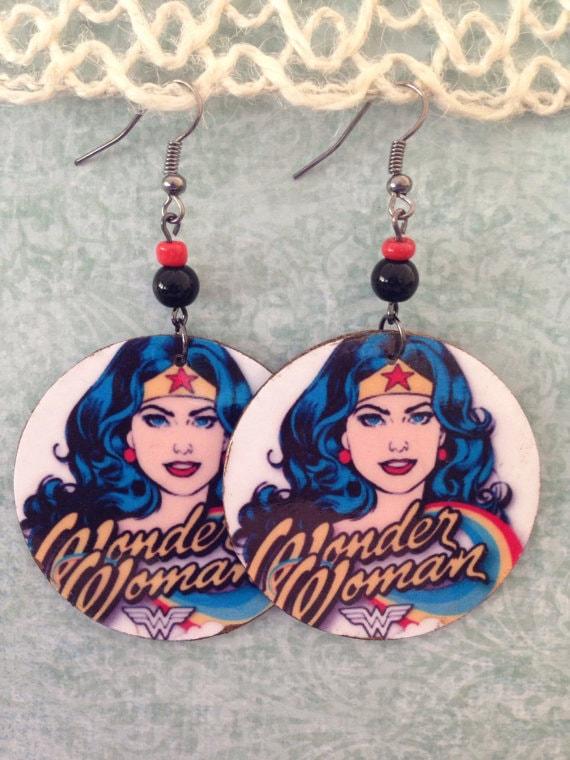 Wonder Woman upcycled earrings