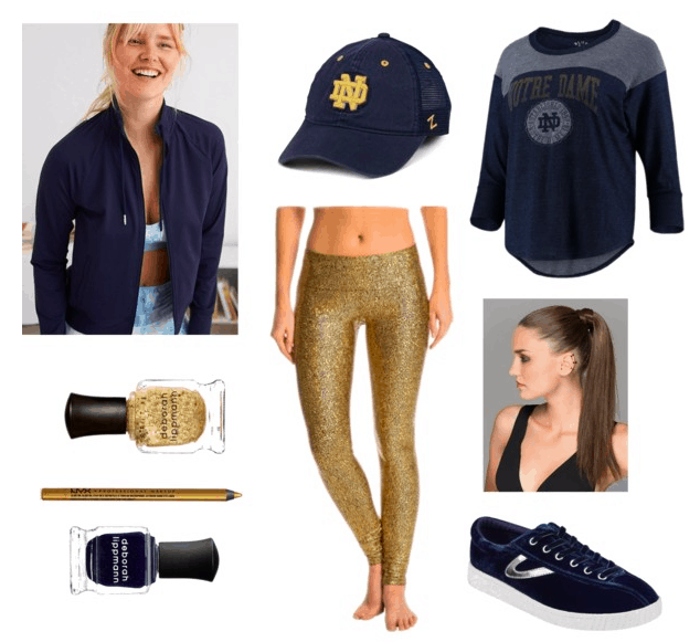 blue bomber, cap, and shirt, gold leggings, gold and blue nail polishes, blue sneakers and ponytail