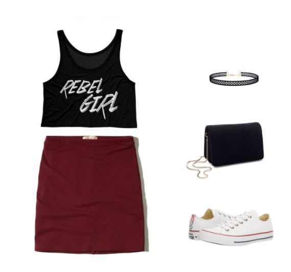 Trendy outfit to wear to a hip hop concert in summer: Rebel Girl crop top, burgundy mini skirt, chain strap bag, tattoo choker necklace, white Converse sneakers