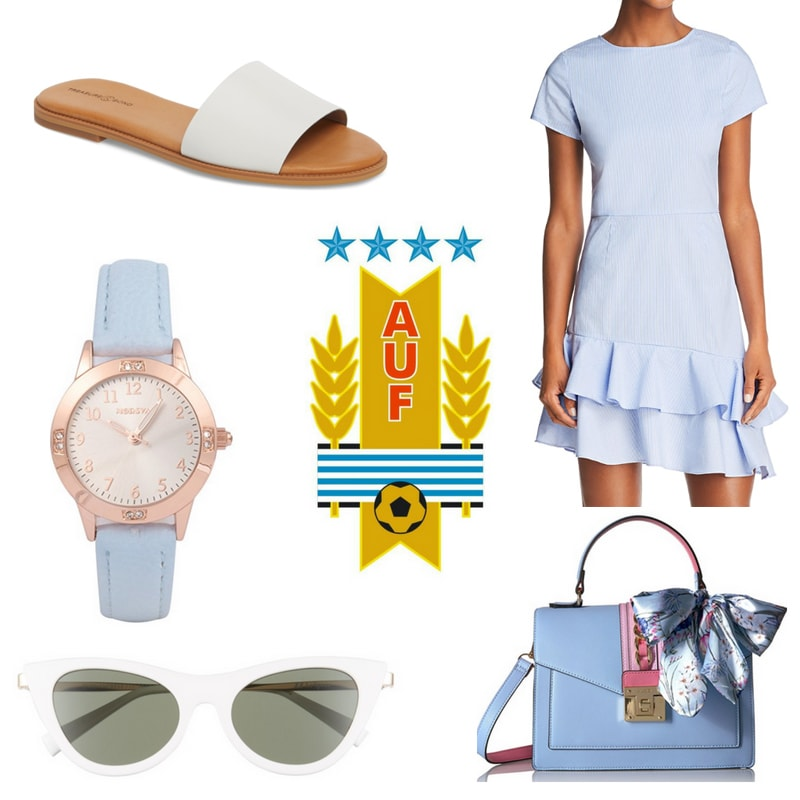 World Cup outfit inspired by Uruguay: Light blue ruffle dress, white leather slide sandals, light blue purse, light blue watch, white sunglasses
