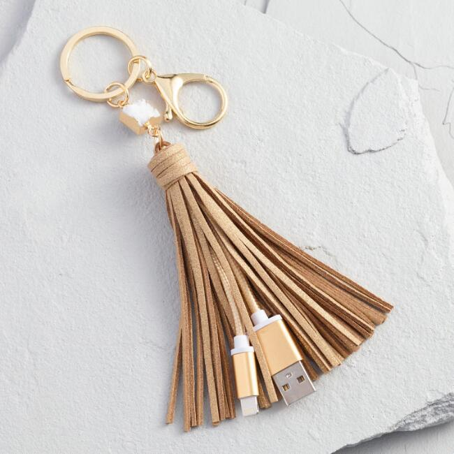 iPhone usb charger tassel keychain