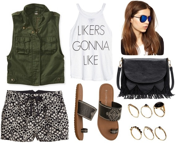 Utility vest, graphic tee, printed shorts