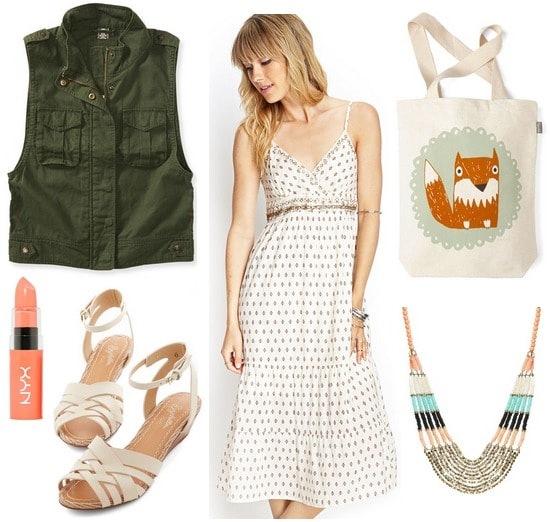 Utility vest, midi dress, strappy sandals