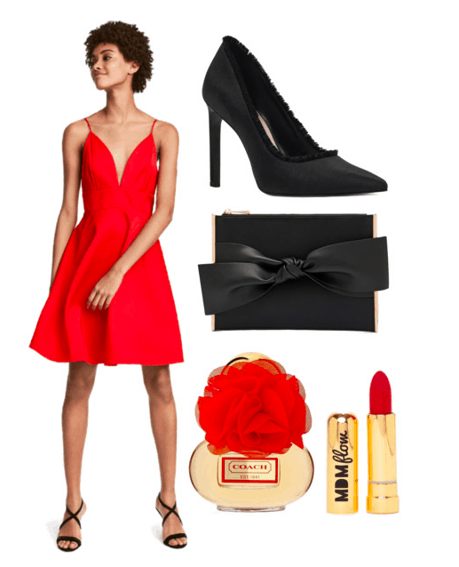 Polyvore set including: A brunette model wearing a v-neck dress, black heels, a black bow clutch, coach perfume, and red lipstick.