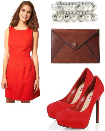 Valentines Day Outfit 1: Red dress, red pumps, envelope clutch, bracelet