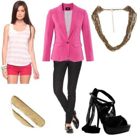 Valentines Day outfit 2: Pink blazer, black skinnies, striped tank, gold ring, heels, statement necklace