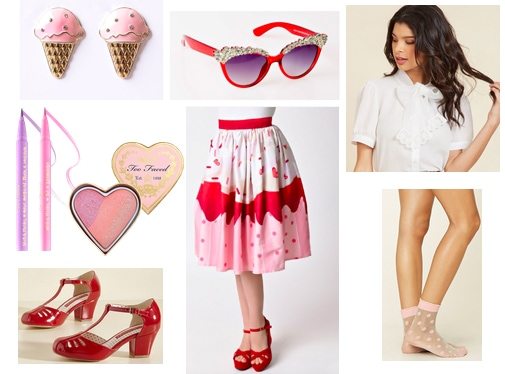 Vintagey outfit idea inspired by Valentine's Day - red and pink midi skirt, vintage blouse, t-strap red shoes, red sunglasses, ice cream earrings