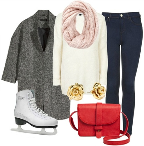 Valentine's Day ice skating outfit