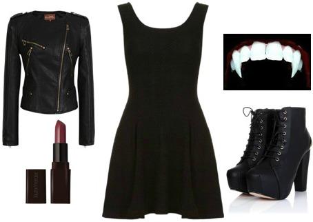 Vampire halloween costume - black dress Halloween costume ideas