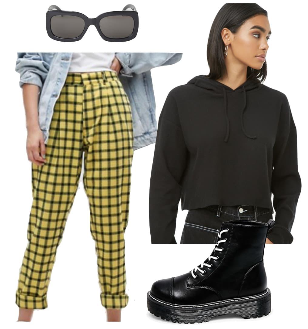 Vanessa Hudgens Outfit: yellow and black plaid peg pants, black cropped hoodie, black platform combat boots, black rectangular sunglasses