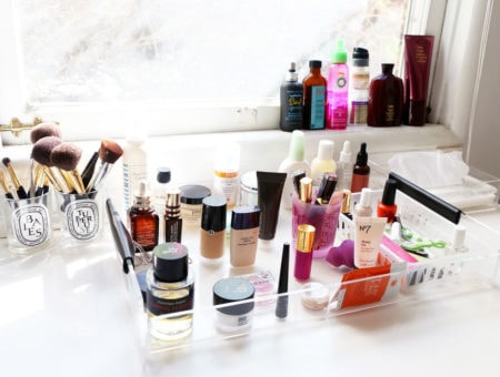 counter filled with beauty products