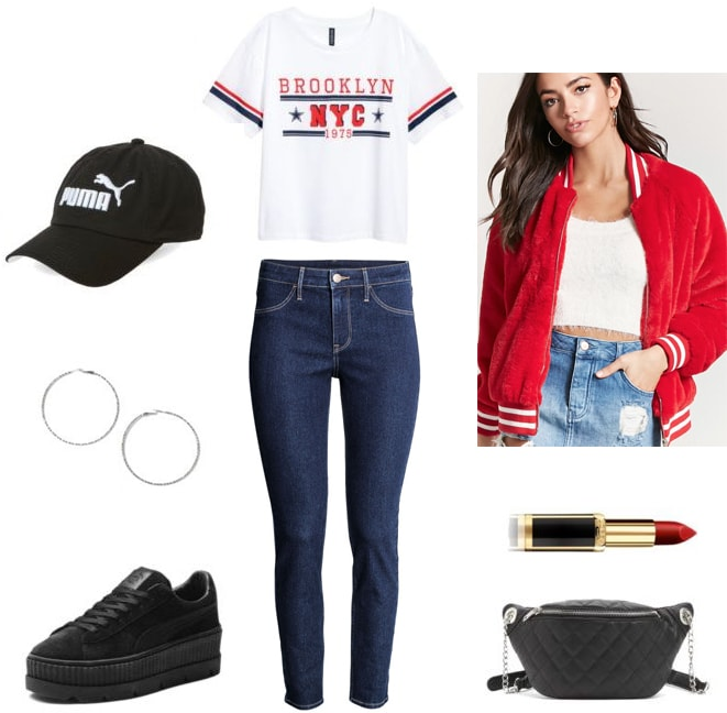 Varsity jacket outfit for night: Dark wash jeans, Brooklyn tee shirt, puma baseball cap, black platform sneakers, hoop earrings, quilted crossbody bag, lipstick