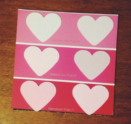 Vday paint chip diy project