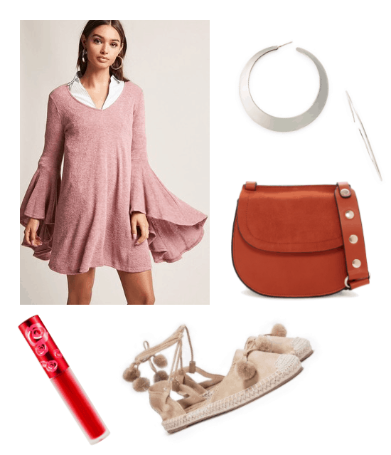 Outfit inspired by Vella from Broken Age: pink, bell-sleeved dress, silver hoops, red crossbody, beige pom pom sandals, red lip from Limecrime