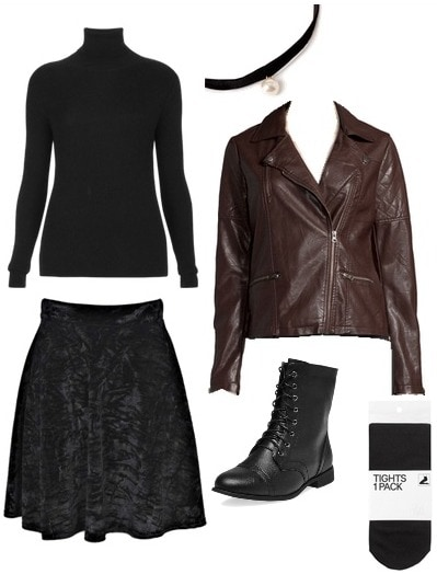 Velvet and leather look