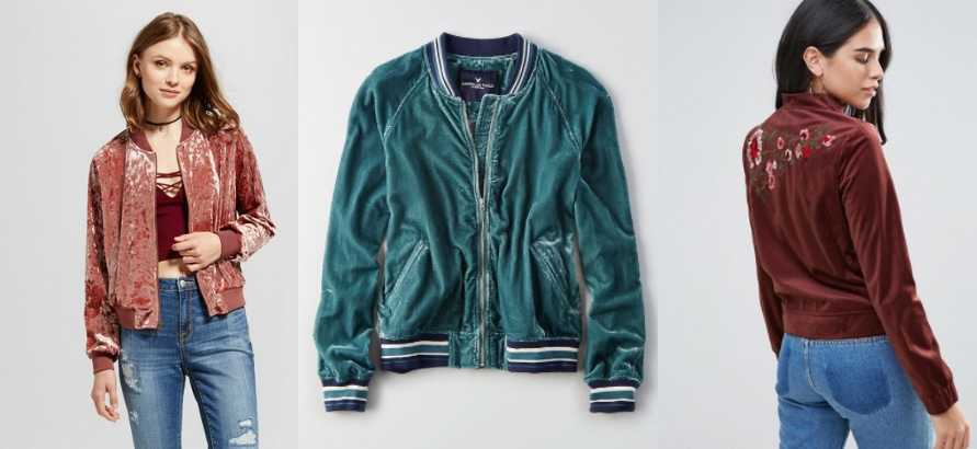 Velvet bomber jacket shopping guide (left to right): mauve crushed velvet jacket from Target, sporty teal bomber jacket from American Eagle Outfitters, and a floral embroidered dusty rose jacket from ASOS.