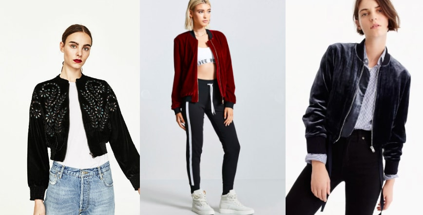Velvet bomber jacket trend for fall (left to right): embroidered black velvet bomber jacket from Zara, Forever 21 oxblood velvet bomber jacket with black trim, space grey J. Crew lightweight jacket.