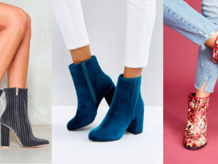 Chunky-heeled velvet booties trend from left to right: Vertically striped grey and black velvet booties from Nasty Gal, bright teal booties from ASOS, and floral print low booties from Anthropologie.