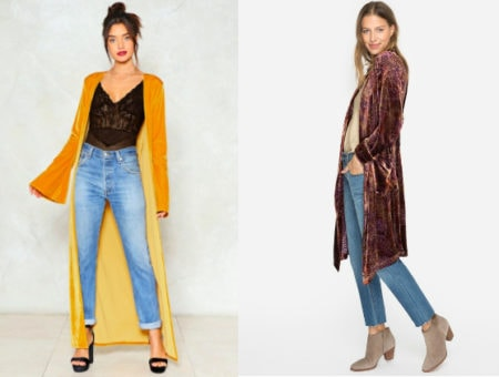 Velvet duster trend (from left to right): mustard yellow floor-length duster with bell sleeves from Nasty Gal and a purple silk burnout velvet duster with touches of gold from Johnny Was.