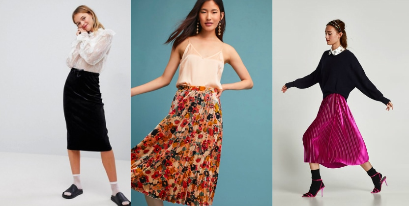 Velvet midi skirts from left to right: black high-waisted pencil skirt from ASOS, floral print pleated skirt from Anthropologie, and magenta flowy skirt from Zara.