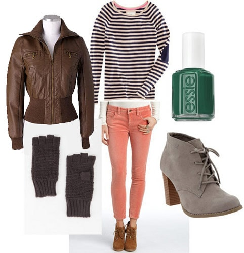Velvet jeans outfit: Coral velvet jeans, striped shirt, moto jacket, suede ankle booties, gloves, nail polish