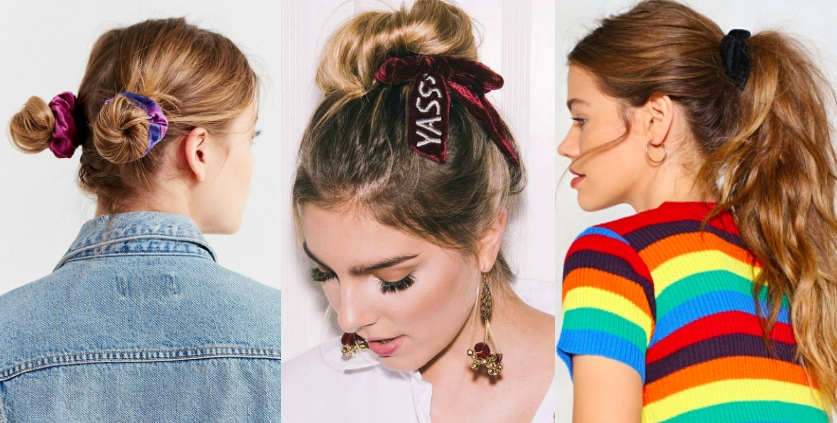 Velvet scrunchie trend from left to right: purple multicolored scrunchie set from Urban Outfitters, rouge scrunchie with bow and YASSS embroidery by New Friends Colony from Nordstrom, and a black velvet scrunchie hair tie from Nasty Gal.