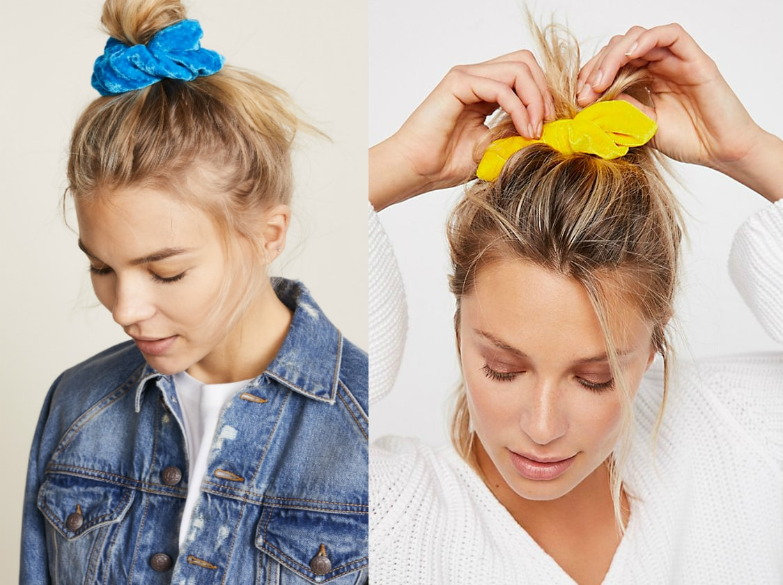 Velvet scrunchie trend from left to right: an azure blue luxe scrunchie by NAMJOSH from Shopbop and a thick yellow scrunchie from Free People.