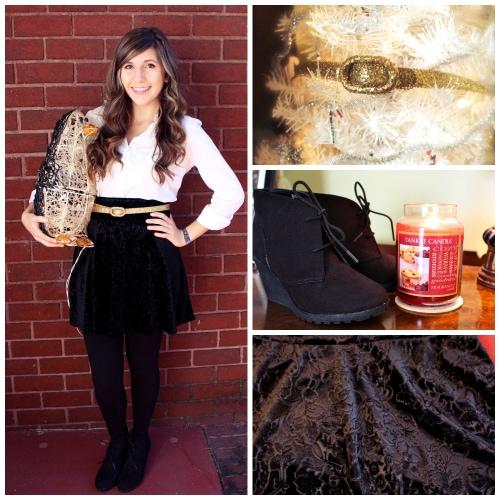 Velvet skirt holiday outfit