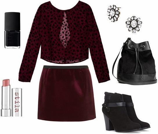 Velvet skirt night out look