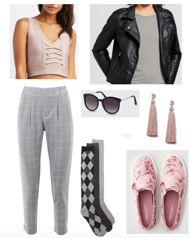 How to wear velvet shoes: Third look with velvet sneakers includes grey checked cropped pants and leather jacket.
