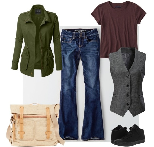 Best fictional role models for college women: Veronica Mars. Outfit inspired by Veronica Mars with flared jeans, maroon tee shirt, gray menswear vest, green military jacket, tan utility bag, black converse sneakers