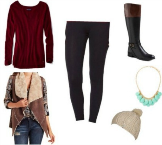 Outfit that features legging, riding boots, and vest