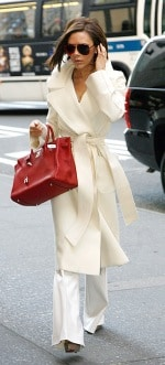 Victoria Beckham wearing a White Coat