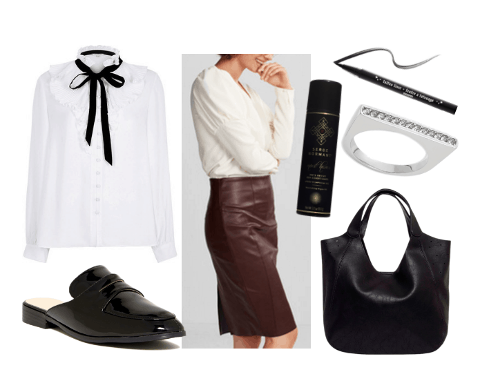 Work outfits ideas: Victorian collar blouse in white and black, burgundy faux leather pencil skirt, black slipper mules, black tote bag