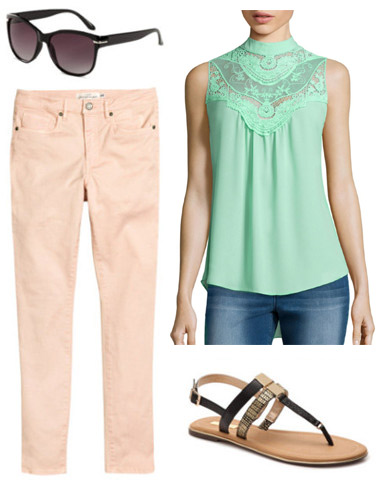 How to wear an ice green victorian blouse with pink jeans and sandals